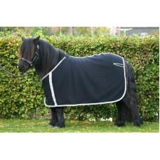 Fleece deken sierkoord zwart